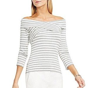 Vince Camuto Striped Off the Shoulder Top Tee